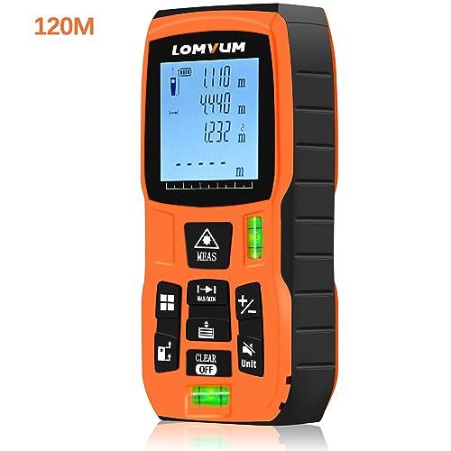 Lomvum Medidor Laser de Distancia, 120M Profesional Metro Laser,Telemetro Laser con Precisión 2mm