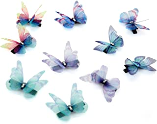 Butterfly Hair Clips Set 3D Double Layers Organza Crystal Butterflies Hair Accessories for Women Girls, Pack of 10