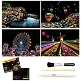 C-pop Scratch Art, Scratch Art Paper DIY Night View Scratchboard for Adult and Kids, with Stylus/Black Brush,8.2''x11.4'' (Europe Amorous Feelings)