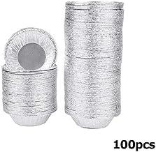 100pcs Aluminum Foil Egg Tart Pan Molds Mini Pot Pie Bake Plate Disposable Baking Cups Round Tart Base Cupcake Case Tin Tray Set,White