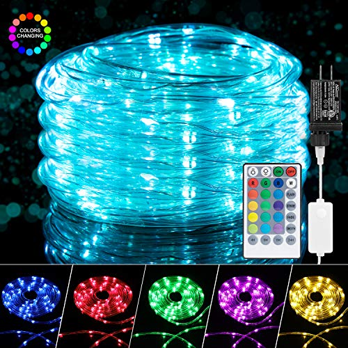 Color Changing Rope Lights: 33 Ft 100 LED Outdoor String Lights with Plug & Remote   Twinkle Lights for Bedroom Wedding Patio Garden Christmas Decor   16 Colors
