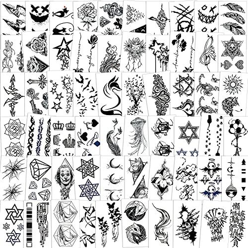 Qpout Tatuajes Temporales Para Adultos Mujeres Hombres (60 Hojas) Tatuajes a Prueba De Agua Pegatinas De Arte Negro Falso Cara Brazo Manga Tatuajes En La Muñeca