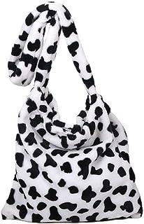 HUANG Sac à bandoulière imprimé vache fausse fourrure bandoulière sacs de messager grande capacité en peluche laine duvete...