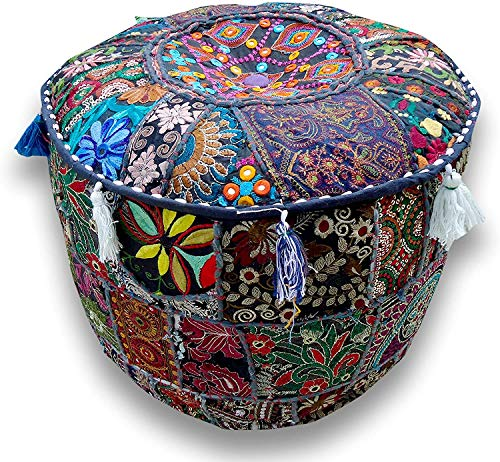 Decorative Blue Multi Patch Indian Hippie Embroidery Vintage Cotton Floor Pillow & Cushion Patchwork Bean Bag Chair Cover Boho Bohemian Hand Embroidered Handmade Pouf Ottoman Cover (14X22 inch)