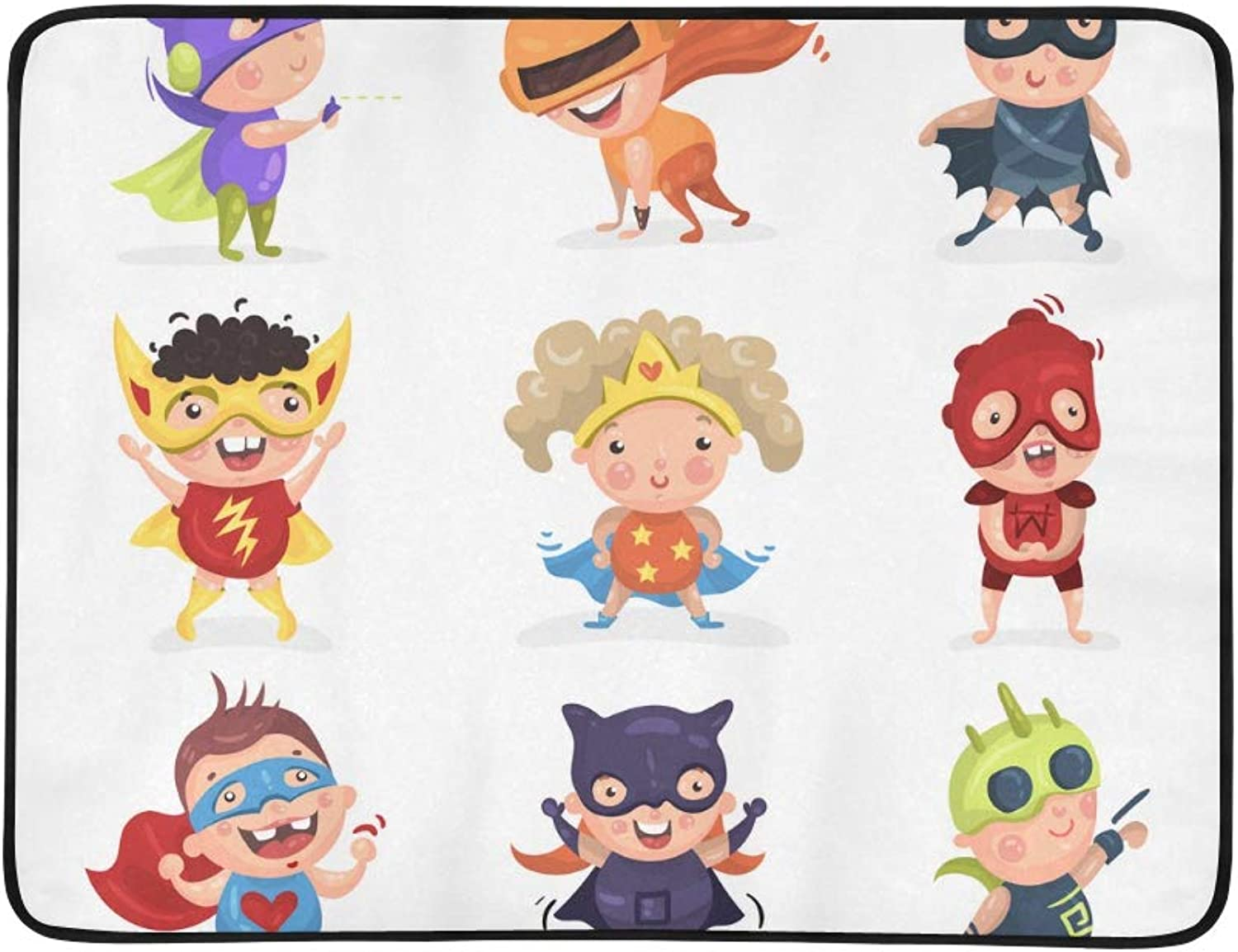 Cute Superhero Kids Pattern Portable and Foldable Blanket Mat 60x78 Inch Handy Mat for Camping Picnic Beach Indoor Outdoor Travel