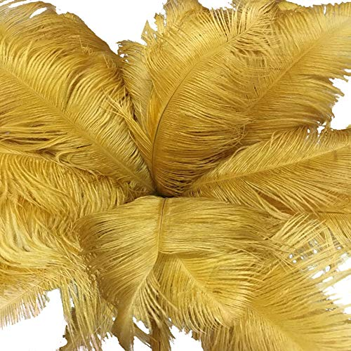 Lanpeed 10pcs Ostrich Feathers 18-20 inch (45-50cm) for Home Wedding Party Decoration (Gold)