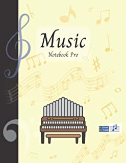 Music Notebook Pro With Instrument - Organ | Advanced 10 Staves Interior With Educational Materials: Music Manuscript Pape...