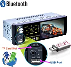 youyuekeji Single Din Car Stereo - 4.1'' Car Radio HD Touchscreen with Bluetooth USB/MP3/MP5/AM/FM/RDS Radio Support Rear View Camera +External Microphone/Subwoofer/Steering Wheel Control