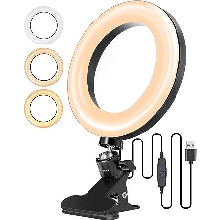 """ELEGIANT Anillo de Luz 6.3"""", Aro de Luz Trípode de Escritorio 3 Colores Claros + 10 Niveles de Brillo, 360 ° Giratorio de Mesa Luz con Clip de Resorte para Móvil Selfie Youtube Live Maquillaje"""