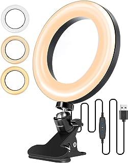 """ELEGIANT ringljus 6,3 """", stativljusring 3 ljusfärger + 10 ljusstyrkenivåer, 360 ° roterande bordslampa med fjäderklämma fö..."""