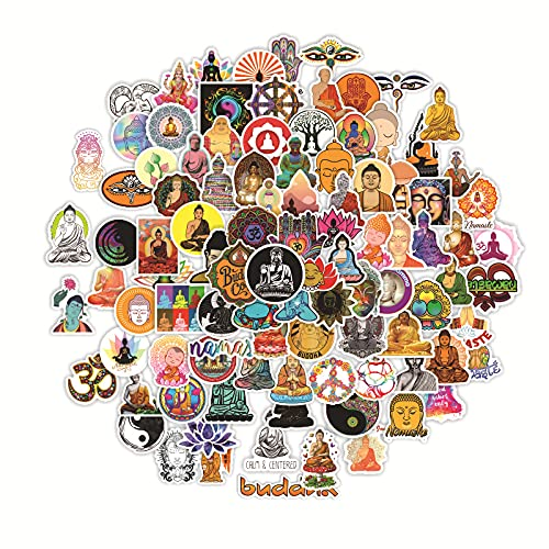 DOFE 100 PCS Buddha,Skateboard Stickers,Car Stickers 50 pcs, Laptop Stickers,Motorcycle Bicycle Luggage Decal Graffiti Patches for Teens. (100 PCS Buddha)