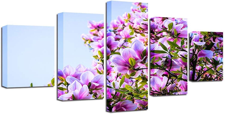 Precio por piso Giow Cochetel Impreso Impreso Impreso Arte de la Parojo 5 Unidades Hermosas Magnolia Púrpura Flores Paisajes Naturales Cuadros Modular Lienzo Pinturas Decoración para el hogar  Seleccione de las marcas más nuevas como