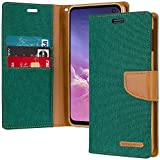 Goospery Canvas Wallet for Samsung Galaxy S10e Case (2019) Denim Stand Flip Cover (Green) S10E-CAN-GRN