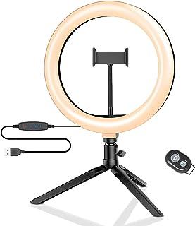"""Luz de Anillo LED con Trípode, BlitzWolf 10.2"""" Anillo de Luz con Soporte de Móvil y Control Remoto Bluetooth, 3 Modos de L..."""