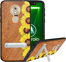 HHDYCompatiblewithMotorola Moto G6 Play Case/Moto E5 Case withMetalKickstand,HardNaturalWoodBackwithFlexibleTPUBumper,Anti-Scratch,WoodenCoverforMoto E5/G6 Play, Sunflower