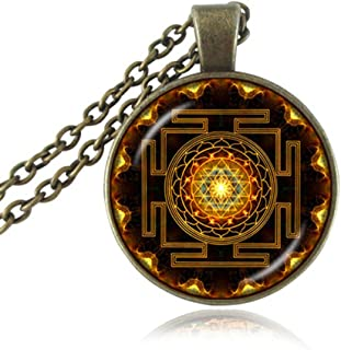 OneQuarter Fashion Sri Yantra Pendant Necklace Buddhist Sacred Geometry Jewelry Sri Yantra Yoga Necklace for Men Women with Gift Box