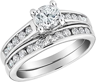 1/2 Carat Diamond Engagement Rings for Women Round Cut with a Band in 10K Solid Gold