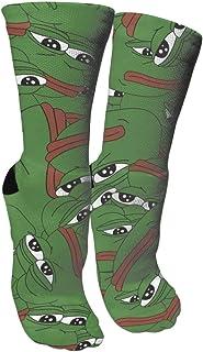 DAWN&ROSE, Pepe The Sad Frog - Calcetines de compresión unisex con estampado de loco, divertidos calcetines largos de algodón sobre la pantorrilla