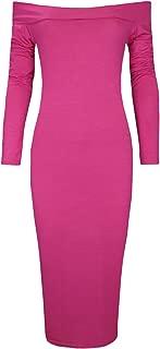 Women's Plain Stretch Off The Shoulder Bardot Long Sleeve Midi Dress