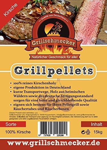 Grillschmecker Grillpellets - Holzpellets aus Kirschholz für Grill, Pelletofen & Smoker - Kirsche 15 kg