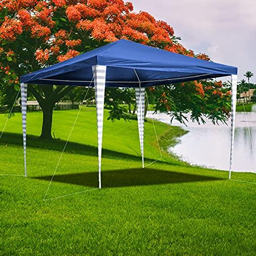 Faziango Pavillon 3x3m Wasserdicht Steckpavillon in Blau Gartenzelt PE-Plane UV Schutz Partyzelt Unterstand für Markt Terrasse Hochzeit Picknick