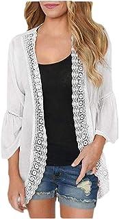 Macondoo Womens Basic Coat Lace Bell Sleeve UV Protective Cardigans