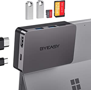 BYEASY Surface Pro 7 Docking Station, Microsoft Surface Pro 7 Accessories with 4K HDMI, 60W USB-C PD Charging, SD/TF Card Reader, 2 USB 3.0 - Bend Angle Design Customized for Surface Pro 7 Only