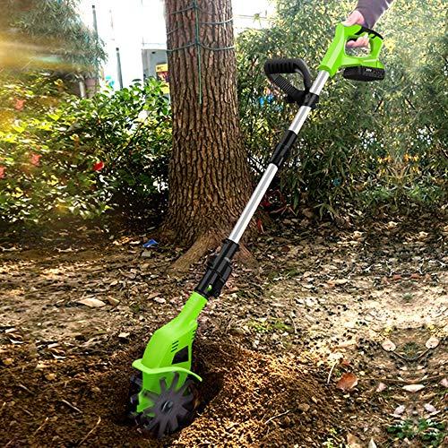 AAGYJ Schnurloser elektrischer Pinnengrubber, 20V 250RPM Batterie Gartenfräse, einstellbare Grifflänge, Motorhacken zum Graben, Unkrautentfernung und Bodenbearbeitung
