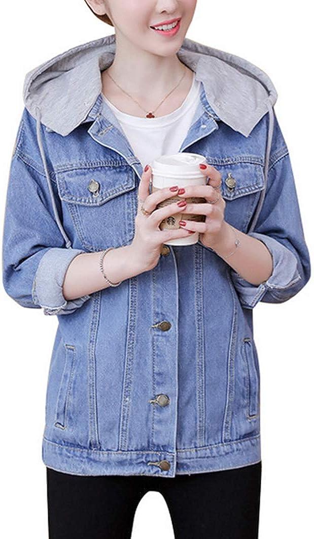 Duyang Women's Oversized Jean Trucker Jacket Fashion Button Down Denim Jacket with Hood