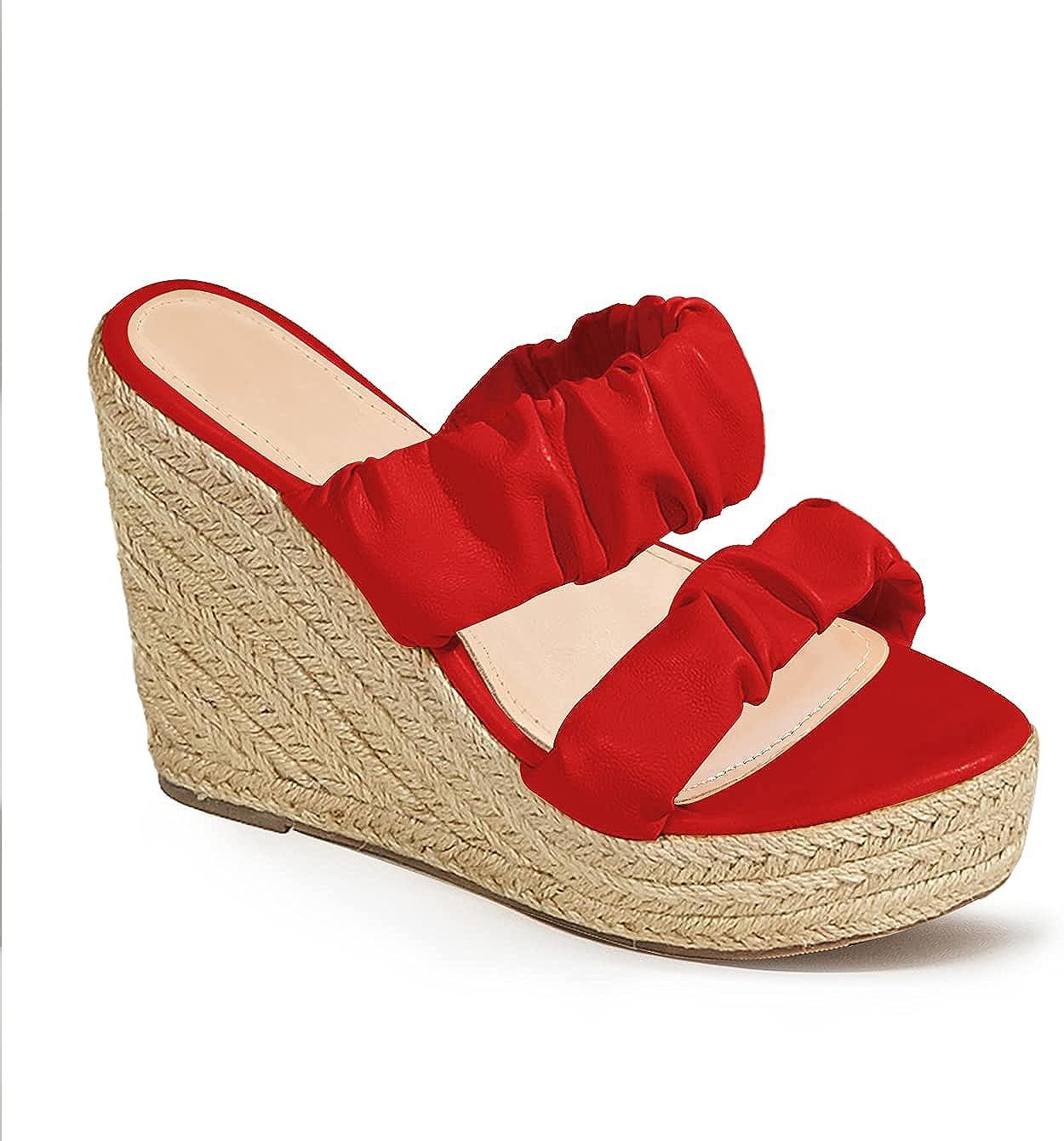 Womens Ruffled Wedge Sandals Espadrille Platform Strappy Slip On Open Toe Slides