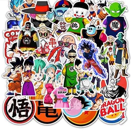 Adesivi impermeabili per computer portatile, motivo: Dragon Ball Z, per skateboard, bagagli, casco, chitarra, confezione da 50