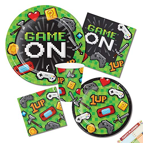 Gaming Video Game Birthday Party Supplies | Pixel Theme Plates Napkins and Cups | Boys Party Tableware | Perfect for Kids Teen or Adults Party | Serves 16