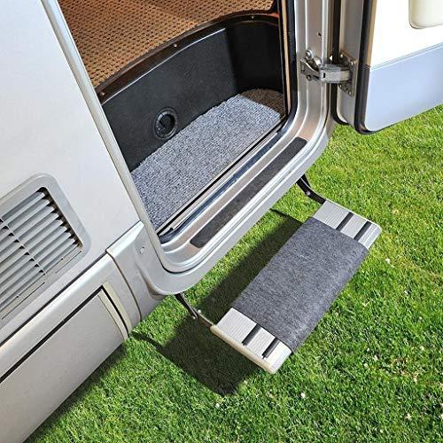 MULTIBROS Felpudo para caravana – Alfombra Premium – Felpudo Clean Step – Alfombrilla para caravana – Peldaños de camping (gris)