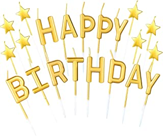 DaveandAthena 21 Pieces Gold Happy Birthday Candles Star Birthday Cake Toppers Metallic Birthday Letters Candles for Birthday Wedding Party Cake Decoreations