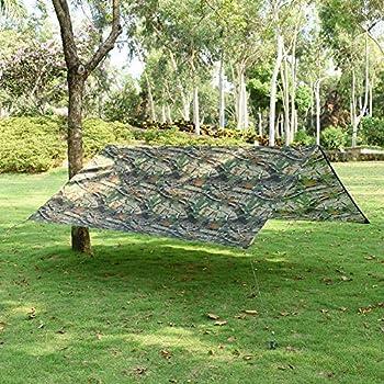 LOOGU Tarp Camouflage 1.5x2.2m Anti-Pluie Camping Rain Tente Bâche Portable Ripstop Légèr Imperméable à l'eau pour Randonnée, Pêche,Pique-Nique, Abri -avec Accessoires et Sac de Transport