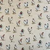 Vintage Tiere Hühner Baumwolle Rich Leinen Look Stoff für