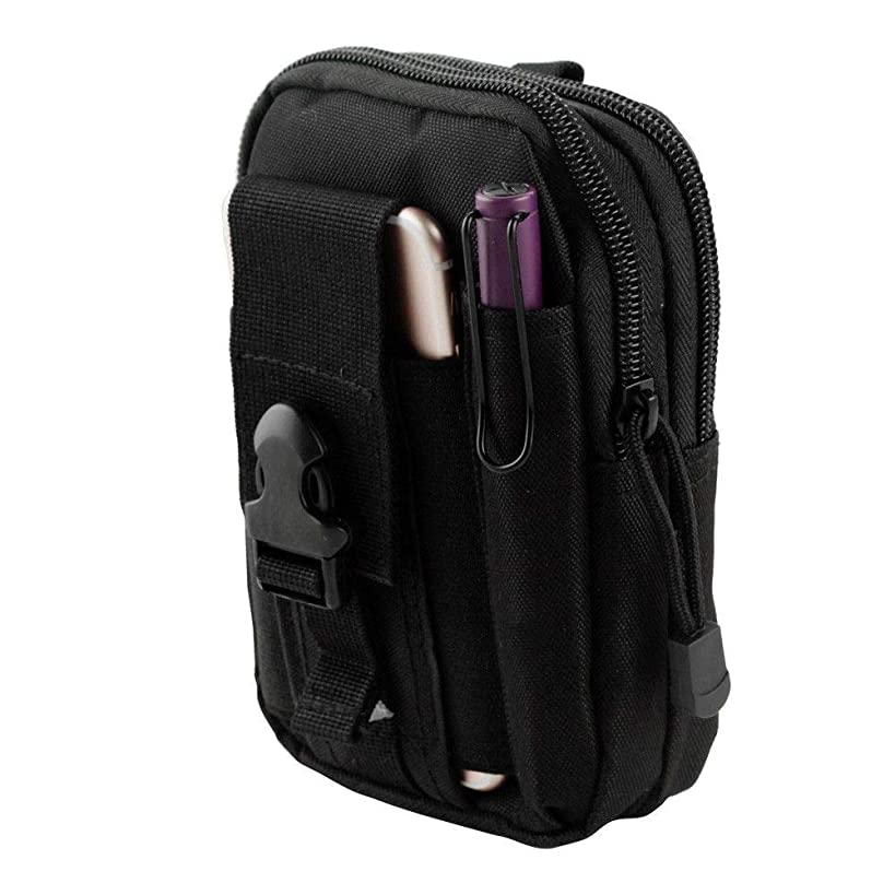 LG X Charge Pouch - Tactical EDC MOLLE Utility Gadget Holder Pack Belt Clip Waist Bag Phone Carrying Holster - (Black) and Atom Cloth for LG X Charge