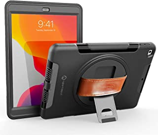 New Trent iPad 7th Generation case, iPad 10.2 Case, Rugged Kickstand Full Body 7th Generation iPad case with Rotational Hand Strap & Screen Protector for iPad Case 7th Generation & iPad 7 case