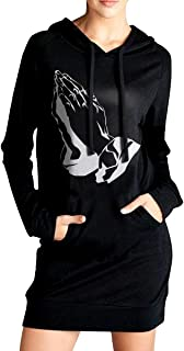 Praying Hands Women's Long Sleeve Hooded Sweater with Pocket Hoodies Dress