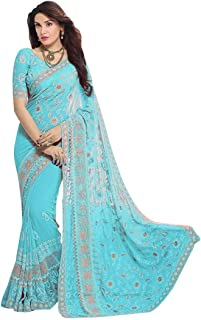 Indian Women's Party Wear Chiffon Zari Embroidery Saree with Blouse Piece
