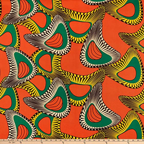 Shawn Pahwa African Print DTY Brushed Nduduzo Fabric, Orange/Yellow, Fabric By The Yard