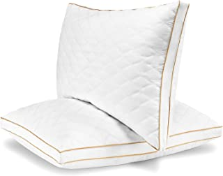 Italian Luxury Quilted Pillow (2-Pack) - Hotel Quality Plush Gel Fiber Filled Pillow with Quilted Cover and Sateen Piping - Hypoallergenic & Dust Mite Resistant - King