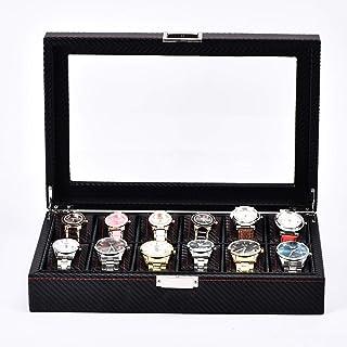 Lwieui Caja de Reloj Las Ranuras 12 Relojes de Madera con Cerradura Exhibidores Tapa de la Caja de Almacenamiento con el V...