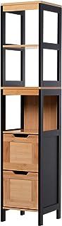 HOMCOM Meuble Colonne Rangement Salle de Bain Style Cosy dim. 30L x 30l x 144H cm 3 étagères 2 tiroirs Bambou MDF Noir