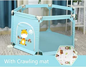 Baby Playpen Anti-Fall Prevent Collision Safety Fence With Sturdy Bases Mat Playard Ball Pit For Infant Toddlers Kids Children Indoor Outdoor Products  Color Blue