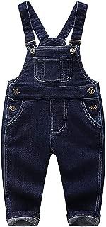 Baby & Little Boys/Girls Blue & Black Denim Overalls