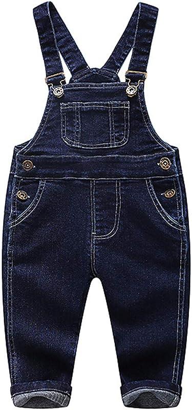 Kidscool Baby Little Boys Girls Blue Black Denim Overalls