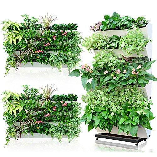 Sungmor Pot de Fleurs pour Jardin avec arrosage Automatique de Jardin Vertical, 57 cm x 18 cm, 4 gousses séparées, idéal pour la Culture de Plantes différentes. Pack 1 pièce - Ivoire