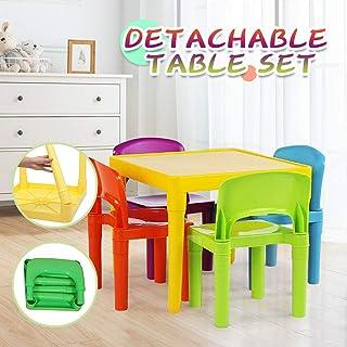 VWsiouev - Juego de mesa y sillas de plástico para niños, mesa plegable y sillas para niños, mesa de aprendizaje con 4 sillas multicolores, para el hogar, guardería y actividades