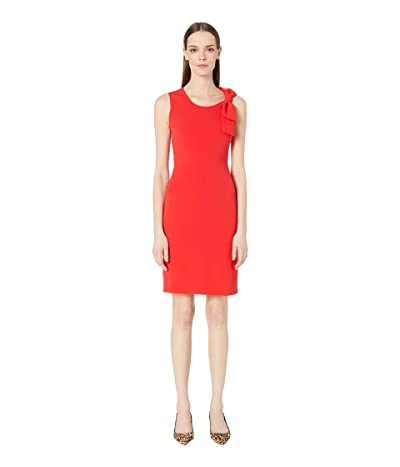 Boutique Moschino Sleeveless Scoop Neck Bow Sheath Dress (Red) Women